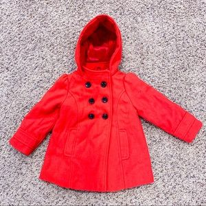 Girl's 2T Wool Blend Hooded Pea Coat